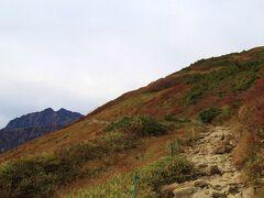 標高1,680mの八方池山荘から登山開始です。 左正面に見られるのは鹿島槍ヶ岳