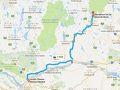本日の走行ルート。いよいよケベック州に入ります。 モンテベロまで高速50E、そこからモン・トランブランまではQC-323Nを走ります。 道路標識はフランス語になります。交通量は多くなく、比較的走りやすい道。 QC-323Nの両側は紅葉が連なり、ドライブそのものが観光です。