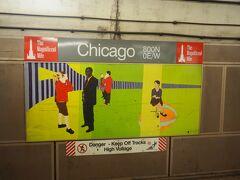 レッドラインのシカゴ駅。標識が可愛い。