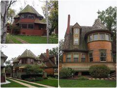 まず、近隣のシカゴ・アベニューに面したロバート・P・パーカー邸(1892年、左上)、トーマス・H・ゲイル邸(1892年、左下)、ウォルター・H・ゲイル邸(1893年、右)。 ライトの初期の建築でアドラー&サリヴァン事務所勤務時代、師匠の目を盗んでアルバイトで設計したもの。これがバレてクビになり独立しました。