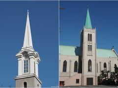 青空に聳える山手本通りの教会  (右)カトリック山手教会 (左)イエスキリスト協会  山手本通りには多くの教会が並びます。 ハロウイウォークもこんな青空の下でできたらいいのですが。