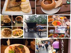 <プラハ 食事>朝食はホテル  宿泊ホテルの朝食は豪華というわけではないが、チェコ料理のレストランなのでそこそこ品数もあって、味はおいしかった。  旧市街広場のプラハハム 大きくておいしい、その分安くない記憶が。値段は失念。  1日目夕食 ホテル LIPPERTにて 豚のひざ肉のロースト サラダ+飲み物  10%OFF で 2,518円   2日目昼食 チェコ名物のローストダックとクネドリーキ 286Kc 1430円 グラーシュスープ 156Kc(鹿肉と書いてあったが本当かわからない) 780円 と、修道院のビール Matuska 0.3L 45Kc 225円  他飲み物  合計3,100円  2日目夕食 市民会館の地下1階のプルゼニュスカーレスタウラウェ スープ 95Kc(475円)×2(グラーシュスープとHovezi vyvar z zeber) ストロガノフ 385Kc(1925円) サラダ 175Kc(875円) 他飲み物 合計 4,835円  ソフトクリーム入りのとるトゥルデルニークは100Kc位(500円?)高いか?