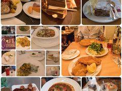 <ウィーン 食事> 朝食はホテル 1日目夕食 フィグルミュラー フィグルミュラーシュニッツェル(14.9ユーロ)。 ウィンナシュニッツェル(ヴィール)(19.8ユーロ)。 グリーンサラダ 7.5ユーロ 飲み物込 合計52.4ユーロ+チップ  2日目ランチ 美術史美術館の美しいカフェ ゲルストナーでランチにした。 ローストビーフサンドイッチ 9.9ユーロ ビーフのウィーン風グラーシュ 15.3ユーロ ガシュタイナー 3.7ユーロ コカコーラ 4.2ユーロ  2日目 ディナー グリンツィングのホイリゲ ゲルストナーランドハウス チキンのシュニッツェル12.5ユーロ ランドハウスサラダ 9.5ユーロ GES TRAUBE 4.8ユーロ レモンソーダ 3.2ユーロ   3日目 ランチ オーバーラー コーヒー 3.9ユーロ コーラ 3.4ユーロ オープンサンド ハム 1個 2.6ユーロ オープンサンド サーモン 1個 2.9ユーロ ザッハトルテ 4.1ユーロ イチゴのタルト 4.1ユーロ  3日目 軽食 ビッツィンガーのソーセージ。 チーズ入りのケーゼクライナー  3日目 デイナー CAFE CENTRAL カフェ ツェントラル フルーツアイスティー 4.7ユーロ ミネラルウォーター750ML 6.6ユーロ コーラ 4.1ユーロ Suppentopf 細いクレープが入ったスープ 8.5ユーロ Erdapfelsuppe じゃがいものスープ 5.4ユロ ウィンナシュニッツェル 20.9ユーロ ターフェルシュピッツ 19.5ユーロ Topfentorte チーズケーキ 4.4ユーロ アップルシュトゥーデル バニラアイス添え 7.1ユーロ コーヒー 5.1ユーロ 合計86.3ユーロ+TIP  4日目カフェ ハイナー メランジェ 4ユーロ ザッハトルテ Sacherwurfel 3.6ユーロ