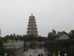 大雁塔が見えてきました。遠い、広い。 ここでも歩かなきゃ。大慈恩寺の中に大雁塔があります。