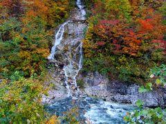 錦秋橋から見える滝です。 ちょうど紅葉が見頃でした。本日1番の絶景です。 錦秋の美しさに感動しました。