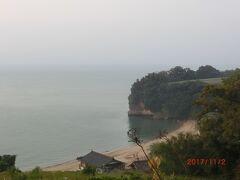 民宿からの眺め。 道は上の方。 夜と早朝は鳥が泳いだり遊んだり。 朝は釣り人も来ました。