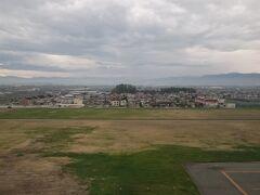 無事に飛行機が着陸しました。 山形空港に着陸です。
