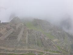 入場してから景色の見える場所までさらに登る事15分ほど。念願のマチュピチュ到着後最初に見た遺跡は濃い霧の中でした。