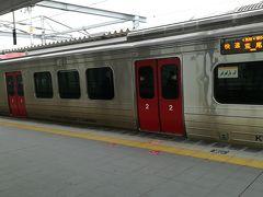 折尾駅。赤間急行にも久しぶりに乗りたいので、ここだけJR。 教育大前まで行きます。 快速は停まらないので、次のに乗ります。