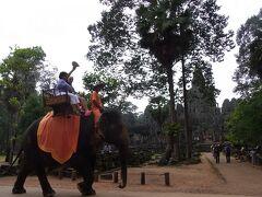 象さんの向こうに、アンコールトム中心部バイヨン寺院が見えてきました。