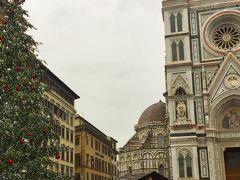 4日目 12/12 雨。 フィレンツェの中心部はコンパクトで歩いて散策するのにピッタリ。 ドゥオモは花の大聖堂の名のとおり、白と赤と緑の大理石で作られた華やかで迫力ある建物でした。  ウフィッツィ美術館は、オフシーズンならではの人の少なさで、 教科書にも出てくる傑作絵画を目の前でじっくり見ることが出来ました。 すごい作品のオンパレードで、感覚が麻痺してしまうくらい。  午後から自由行動。 上質な革製品を買いたくて歩き回りました。 メルカートヌーヴォーや中央市場付近には安い粗悪な革製品の屋台がたくさん。 その中からいいものを見つけるのも面白いかもしれませんが、 私はサンタマリアノヴェッラ広場南の細い路地にあるお店で柔らかな革の鞄とお財布を購入。日本人のおしゃべりな店員さんがいました。