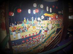 【鯛よし百番、大正時代の置屋で、歴史を偲ぶ】  .......船の上で宴が催されています。