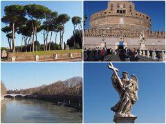 そこからローマ散歩。 イタリアカサマツの面白い傘状の外観、サンタンジェロ城(見るだけ)とサンタンジェロ橋、テベレ川。「ローマの休日」でお馴染み。