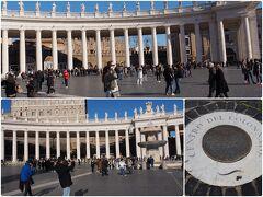 サン・ピエトロ広場です。 ベルニーニ・ポイントにも立ってきました。柱廊の4列の柱が重なって1本に見える場所です。 他の観光客はあまり知らないようで空いています。