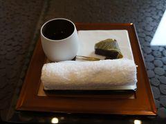 お宿の方に迎えにきていただき、ウェルカムドリンクとスイーツ。  前回同様、きんつばと日本茶。  美味しいですよ(^^♪