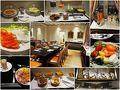 ホテルは朝食付き、7時半から。豪華なダイニング、料理の品揃えも豊富。温かいスクランブルエッグやカリカリベーコンもあります。蜂蜜は巣から滴り落ちたものを掬って使います(右下)。 暖かい飲み物は個別にオーダー、ホスピタリティ十分です。  これまで朝食や昼食は適当に済ますことが多かったので、ここぞとばかり栄養補給に努めました。