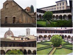 サン・ロレンツォ聖堂です。メディチ家代々の菩提寺となっています。 ファサードは未完、中庭を取り巻く回廊のアーチが美しい建物です。