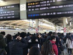 12月29日。正午。 東京駅の新幹線自由席のホームは、ご覧のようにごった返えしていました。  年末のこの時期は、混むって重々承知でした。 なので、JR東海のExpressから早々に新幹線の指定席をネット予約し、完璧だと思っていた前日のこと、、、 メールで12月28日の予約確認の案内がきたΣ(゚д゚lll) え? 29日出発だけど?  まさかの手配ミス。 当然ながら指定席の空きなんて既に無く、当日の自由席を求めてこの列に並ぶしかありませんでしたT^T (幸い、Expressは変更手数料なくスマホで変更できるので処理は迅速に出来るのですが、ボーッとしててはダメですね。指定席分は、後日返金してくれました。)  並べば何とかなるかと思ってましたが、どの列に並べば良いのかも分からないない程に人が溢れてました。もう笑うしかない! 幹事だし遅れるわけにもいかないので何とか乗り込み、名古屋でラッキーにも座ることが出来ました。
