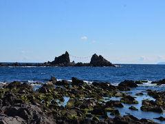 半島の先端まで来ました。 三ツ石が見えます。 約1時間45分かかりました(食事や休憩時間を含む)。