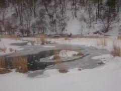橋から見た源泉地。雪が積もってるので分かりませんが、辺りは湿原です。