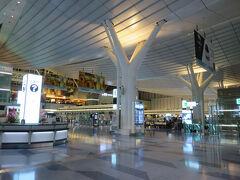 朝の羽田空港国際線・出発ロビー。 ベンチで寝てる人が結構多いので、静かなんですけど、なんとなくざわついた感じ。 昼には見ることのない羽田の姿です。