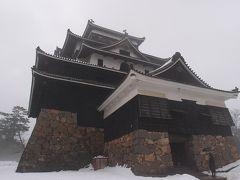 松江城です! 右下に黒い影、忍者が写っています。 帰りには消えていたので常に姿を現しているわけではなさそうです。  お城を見学するためには入場券購入が必要ですが、先に買っていたパーフェクトチケットなどの提示で割引を受けることができました。