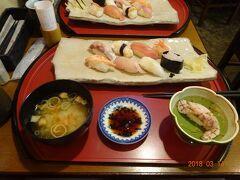 ランチは、兼六園前の石川観光物産館内の2階にあります、お寿司屋さんでいただきました。石川特産のシロ海老と別注文したのどくろの握りが美味しかったです。