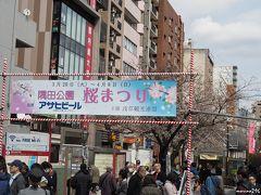 吾妻橋横 隅田公園入口の桜まつりの看板  メトロ銀座線で浅草駅まで来ました。 隅田公園の桜まつりは3月20日~4月8日ですが、 最後まで桜の花が持ってくれるかな?