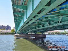 言問橋(http://www.gotokyo.org/jp/kanko/taito/spot/s_353.html)は1928年竣工、長さ236.8mあります。  1945年3月10日の東京大空襲の際、浅草方面から向島方面へ避難する民衆と、反対側に渡ろうとする民衆が橋上で交叉し、身動きがとれない状態となったところに火が燃え移り、橋上は大火炎に包まれ多くの市民が焼死した悲しい歴史のある橋です。 当時の欄干の手すりは両国にある江戸東京博物館に移設展示されています。