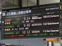 スタートは東京駅。山形新幹線で米沢に向かう。 つばさ131号は停車駅が少ないタイプ。途中停車駅は大宮、福島のみ。