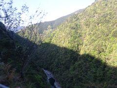 バスはかなり深い祖谷(いや)渓沿いの細い道を走る。