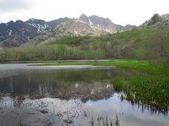 みどりが池から25分ほど歩くと、鏡池に到着しました。雲が広がっていたので完全ではありませんが、水面に山が映っています。風がなければ、まるで鏡のようになるそうです。