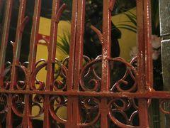 大人気のビアカフェの奥の柵の中にいるのは