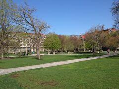大学のキャンパスを歩きます。広々とした敷地、芝生や緑が豊かです。