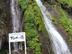 10時前に襟裳岬を後に、帯広方面に戻る途中で、フンベの滝を見学です。  この滝は上流には川はなく、地下水が湧き出している珍しい滝なんだそうです。