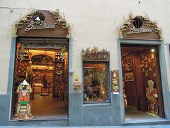 ピノキオのお店「バルトルッチ」  ピノキオの作者カルロ・コッローディの生まれ故郷がここフィレンツェ。 コンドッタ通りにある。