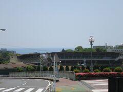 小田原競輪場と海が見えてきました。