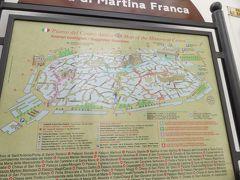 マルティーナフランカの歴史地区の地図。 この半分ぐらいしか歩き回れませんでした。残念、歴史地区は道が細かすぎて途中で迷ってしまった。頼りのインフォメーションも開いてなかった。それに駅から歴史地区までが一本道じゃなく、意外と時間がかかりました。