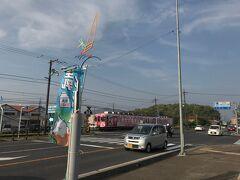 途中で見かけた電車。 島根のご当地キャラ「しまねっこ」が車体にプリントされています。
