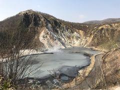 地獄谷から山道の散策コースを通って、大湯沼展望台までやってきました。 写真では白っぽく見えますが、実際はもう少し灰色っぽい感じでした。 奥の方で蒸気が立っています。 ここの温度は深いところで120度くらいなんだとか。 まさに地獄。  山道の散策コースは距離はそんなにはないのですが、起伏がまあまああるので運動不足には結構キツイです。平地なら3時間くらい普通に歩けるようになった私ですが、坂や山道、オフロードは苦手なので、相当きつかったです。 それに温泉の蒸気で温かく湿った空気に包まれているのに、風があまり通らないので蒸し暑くて気怠かったです。 マジ心拍数半端ない…(笑)  本来はもっと近くへ行けるのですが、間欠泉の活動が活発になっているらしく、近くどころかこの先の別の間欠泉も立ち入り禁止で行けませんでした。 残念。