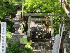 「しげの屋」さんの前は 「熊野皇大神社」 標高1200メートルです。 階段を少し上がると本殿なので、お参りしましょう。 群馬県側は熊野神社、長野県側は熊野皇大神社と2つに分かれていて、賽銭箱が並んで二つある面白神社。