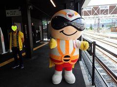 新今市駅到着 「日光仮面」ちゃんのお出迎え、イエ~!