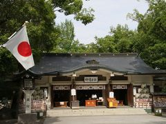 加藤神社に到着。現時点では観光ルートはここまで。境内は広く明るく、参拝しやすいです。天気も少し回復して暑くなってきました。