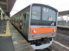 南浦和で武蔵野線に乗り換えます。  JR東日本で古株の通勤電車205系ですね。 205系は日本で活躍した後、インドネシアのジャカルタに移籍した車両がたくさんあるんです。  ③武蔵野線 各停.東京行 (25.6km/乗0:17)  南浦和.9:54→吉川.10:11 乗車車両‥クハ204-45