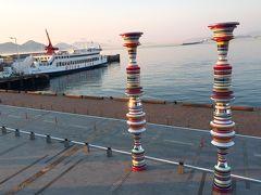 """小豆島の土庄港から60分の船旅で、高松港に到着! 静かで快適なフェリーの旅でした。   瀬戸内国際芸術祭に合わせて展示されたアート作品""""Liminal Air -core-""""を見ることが出来て感激! 小豆島から乗って来たOlive Lineのフェリーとのコラボも素敵に撮れました。"""