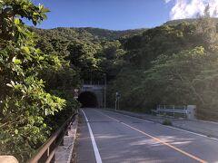 於茂登トンネルを抜ける、たぶん島唯一のトンネル フロントライトが無かったけど大丈夫だった(リアは点けてた)