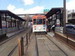 葦善からすぐの新水前寺駅前停留場から熊本市電に乗ります。