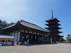興福寺。  五重塔と東金堂です。いずれも国宝。