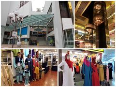 """アラブなエレベーターを見せたくて、""""ゴールデン・ランドマーク""""を通り抜けます。 このショッピングセンター、全体的にアラブっぽい。 イスラム教の人たちが身に着ける洋服屋さんなども入っています。"""