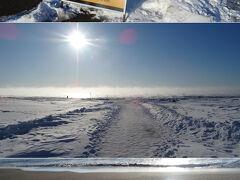 更にとことこ走り続けて、目的地に到着したのは8時近くなった頃。   ここは北海道豊頃町の大津地区。十勝川が太平洋に注ぎ出す河口の右側ですよ。   浜に向かって歩いて行くと、海面から湯気のようなものが上がっていますよ。・・・寒い。あまりに寒すぎて、海水の温度が気温より高くなりすぎてどんどん蒸発していっている「けあらし」ですな。   足下を見ると、砂浜で波が凍っていますよ。こんなの初めて見た。海水も凍るんだねぇ。